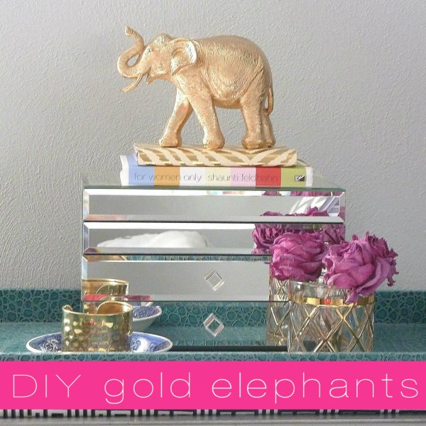 Gold leaf crafts: gold elephant