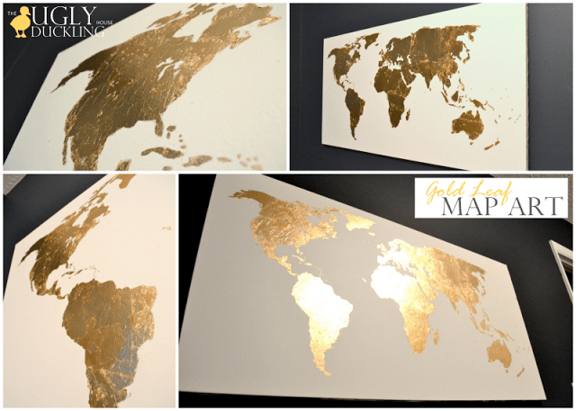 Gold leaf crafts: map art