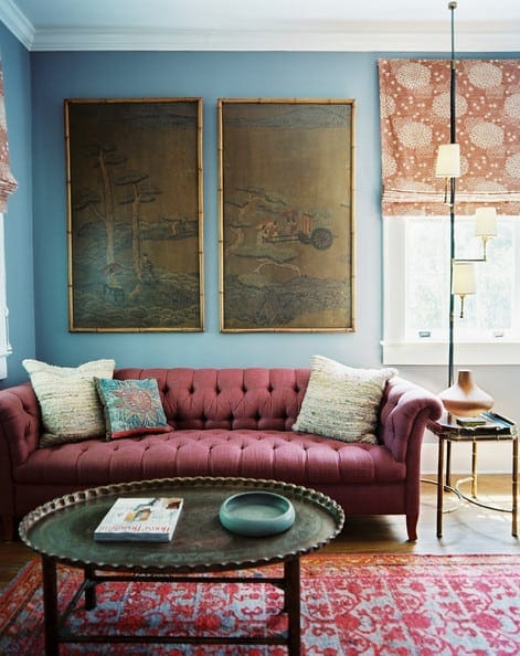 Marsala tufted couch