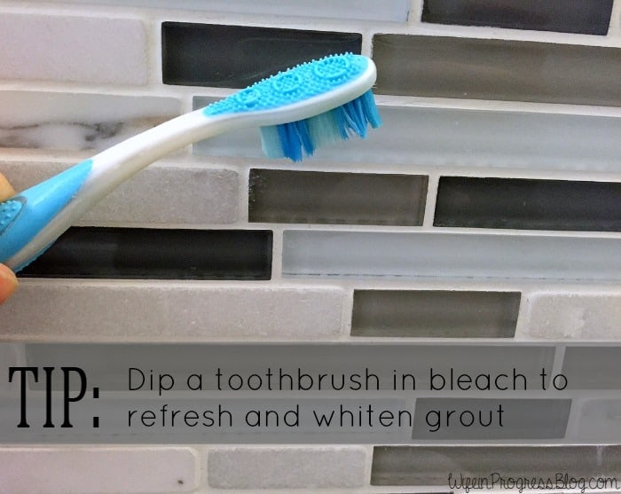 Whiten grout with bleach and an old toothrbush