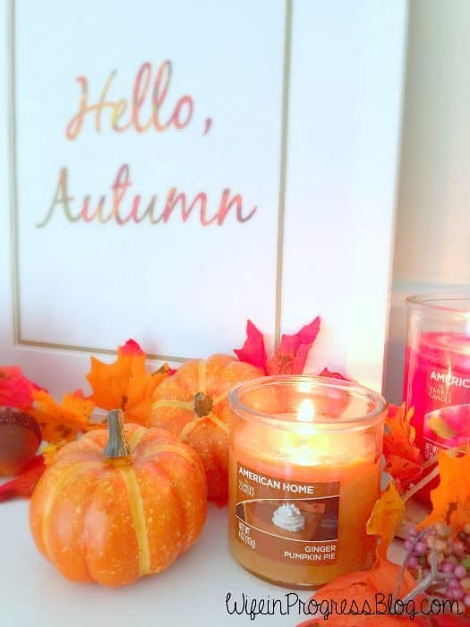 Fall mantel with Yankee candles and printable quote art